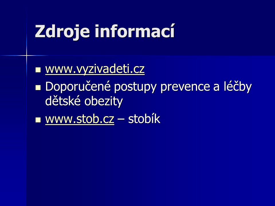 Zdroje informací www.vyzivadeti.cz www.vyzivadeti.cz www.vyzivadeti.cz Doporučené postupy prevence a léčby dětské obezity Doporučené postupy prevence