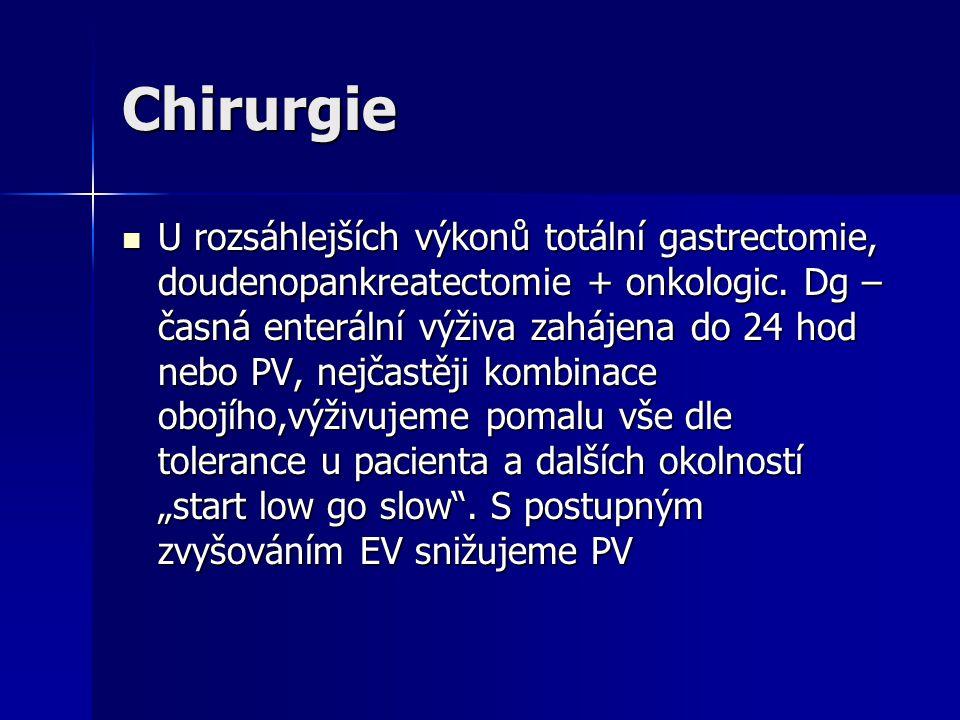 Chirurgie U rozsáhlejších výkonů totální gastrectomie, doudenopankreatectomie + onkologic. Dg – časná enterální výživa zahájena do 24 hod nebo PV, nej