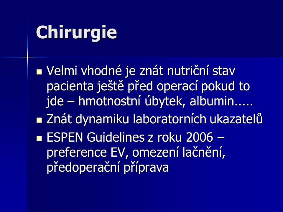 Chirurgie Velmi vhodné je znát nutriční stav pacienta ještě před operací pokud to jde – hmotnostní úbytek, albumin..... Velmi vhodné je znát nutriční