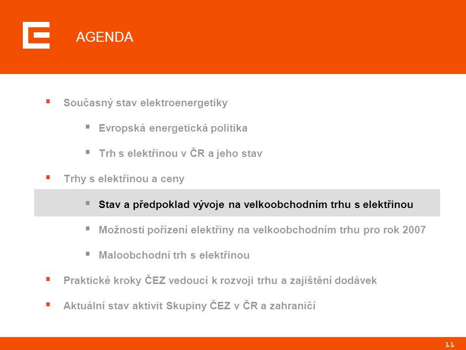 11 AGENDA  Současný stav elektroenergetiky  Evropská energetická politika  Trh s elektřinou v ČR a jeho stav  Trhy s elektřinou a ceny  Stav a př