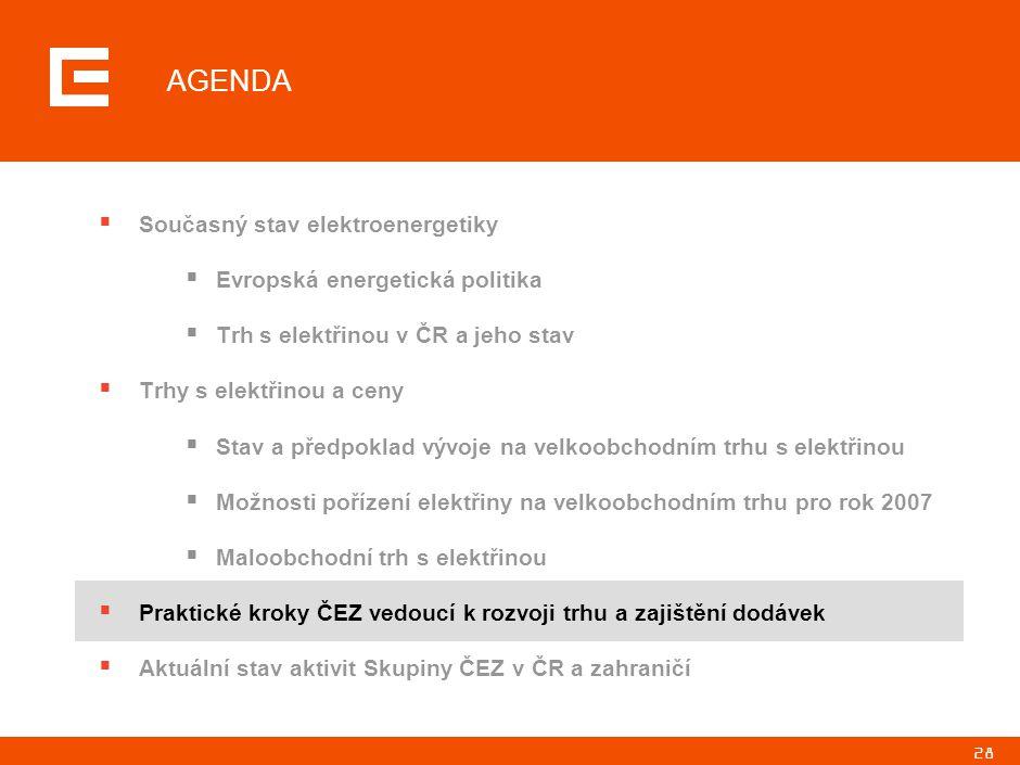 28 AGENDA  Současný stav elektroenergetiky  Evropská energetická politika  Trh s elektřinou v ČR a jeho stav  Trhy s elektřinou a ceny  Stav a př
