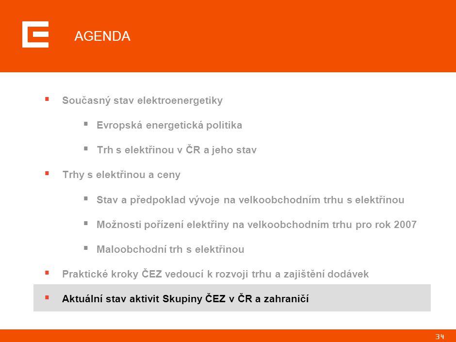 34 AGENDA  Současný stav elektroenergetiky  Evropská energetická politika  Trh s elektřinou v ČR a jeho stav  Trhy s elektřinou a ceny  Stav a př