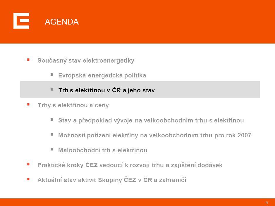 4 AGENDA  Současný stav elektroenergetiky  Evropská energetická politika  Trh s elektřinou v ČR a jeho stav  Trhy s elektřinou a ceny  Stav a pře