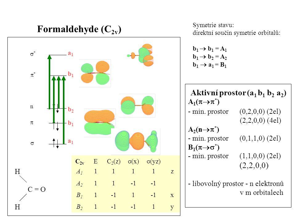 Formaldehyde (C 2v ) Symetrie stavu: direktní součin symetrie orbitalů: b 1  b 1 = A 1 b 1  b 2 = A 2 b 1  a 1 = B 1 **   ** n a1a1 a1a1 b1b1 b1b1 b2b2 y1 1B2B2 x 1 1B1B1 11A2A2 z1111A1A1 σ(yz)σ(x)C 2 (z)EC 2v H C = O H A 1 (  * ) - min.