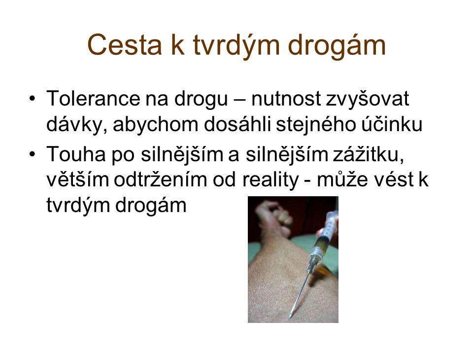 Cesta k tvrdým drogám Tolerance na drogu – nutnost zvyšovat dávky, abychom dosáhli stejného účinku Touha po silnějším a silnějším zážitku, větším odtržením od reality - může vést k tvrdým drogám