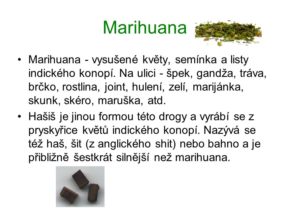 Marihuana Marihuana - vysušené květy, semínka a listy indického konopí.