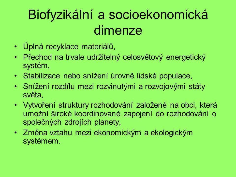 Biofyzikální a socioekonomická dimenze Úplná recyklace materiálů, Přechod na trvale udržitelný celosvětový energetický systém, Stabilizace nebo snížen