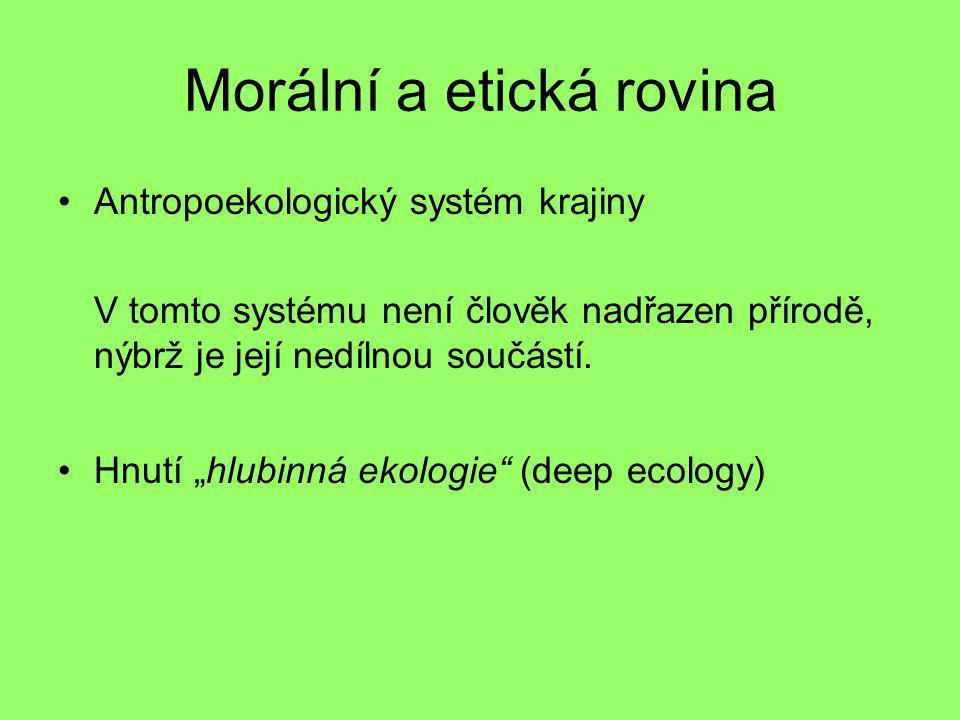 """Morální a etická rovina Antropoekologický systém krajiny V tomto systému není člověk nadřazen přírodě, nýbrž je její nedílnou součástí. Hnutí """"hlubinn"""