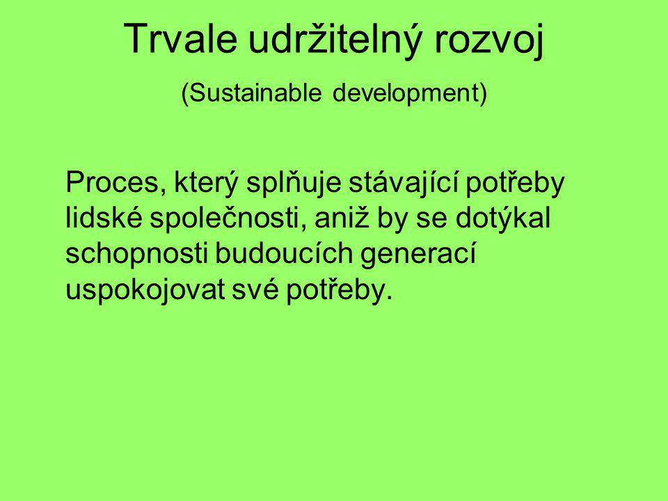 Trvale udržitelný rozvoj (Sustainable development) Proces, který splňuje stávající potřeby lidské společnosti, aniž by se dotýkal schopnosti budoucích