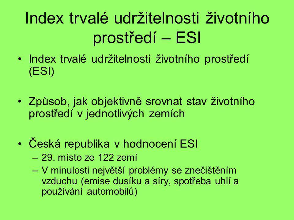 Index trvalé udržitelnosti životního prostředí – ESI Index trvalé udržitelnosti životního prostředí (ESI) Způsob, jak objektivně srovnat stav životníh