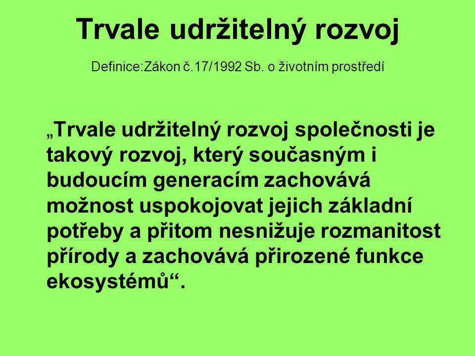"""Trvale udržitelný rozvoj Definice:Zákon č.17/1992 Sb. o životním prostředí """"Trvale udržitelný rozvoj společnosti je takový rozvoj, který současným i b"""