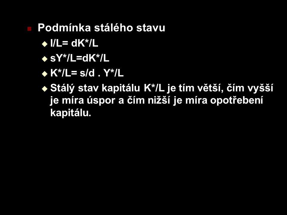 Podmínka stálého stavu  I/L= dK*/L  sY*/L=dK*/L  K*/L= s/d.