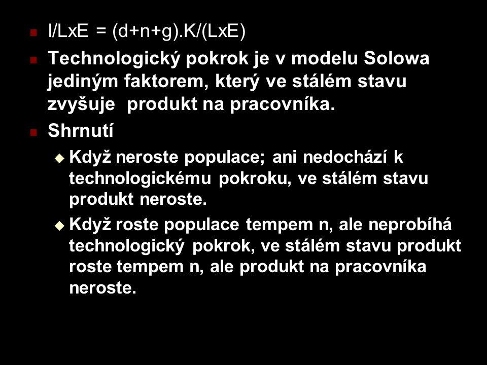 I/LxE = (d+n+g).K/(LxE) Technologický pokrok je v modelu Solowa jediným faktorem, který ve stálém stavu zvyšuje produkt na pracovníka.