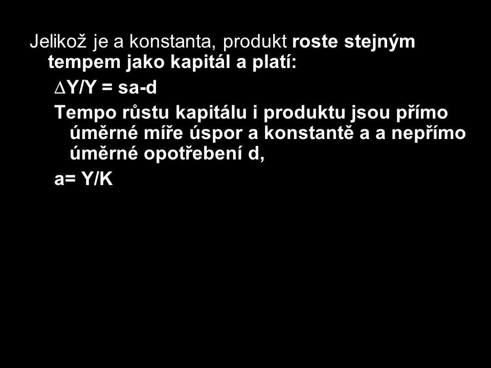 Jelikož je a konstanta, produkt roste stejným tempem jako kapitál a platí:  Y/Y = sa-d Tempo růstu kapitálu i produktu jsou přímo úměrné míře úspor a
