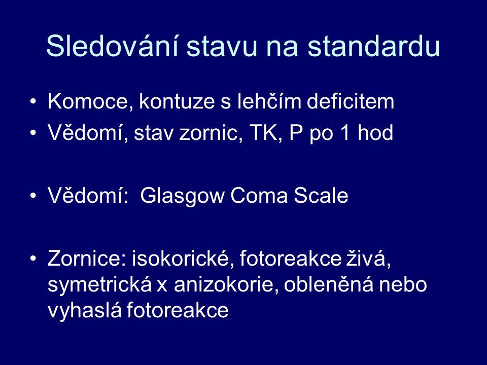 Sledování stavu na standardu Komoce, kontuze s lehčím deficitem Vědomí, stav zornic, TK, P po 1 hod Vědomí: Glasgow Coma Scale Zornice: isokorické, fotoreakce živá, symetrická x anizokorie, obleněná nebo vyhaslá fotoreakce