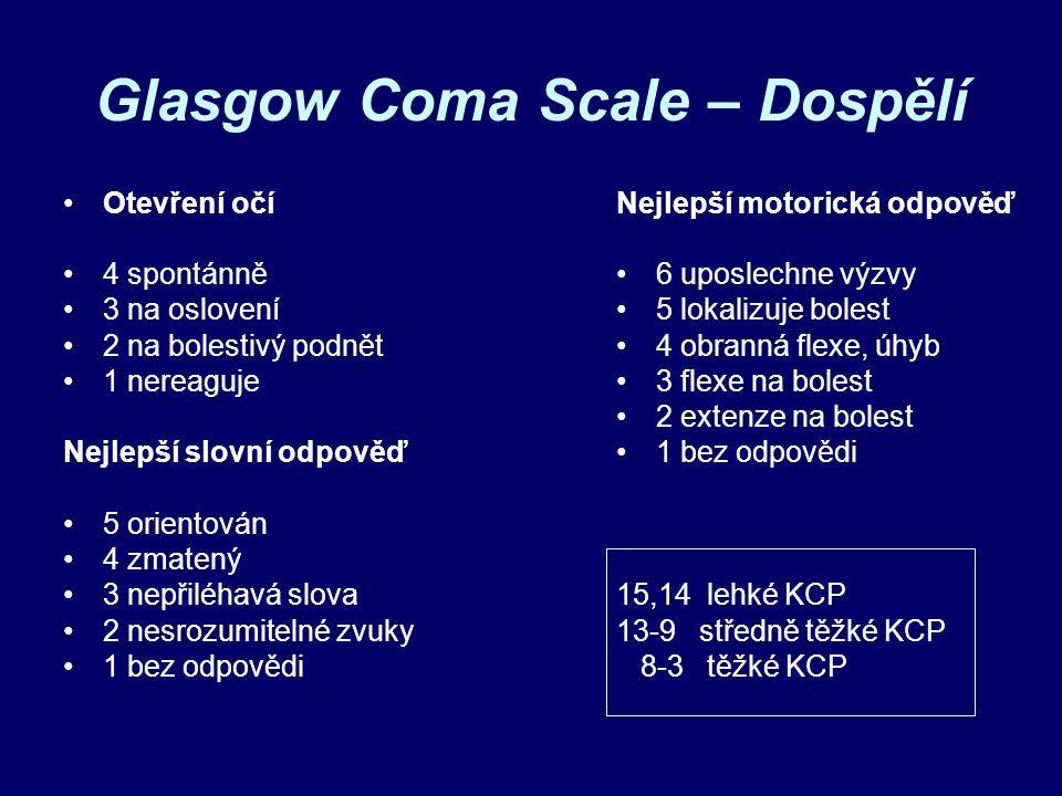 Glasgow Coma Scale – Dospělí Otevření očí 4 spontánně 3 na oslovení 2 na bolestivý podnět 1 nereaguje Nejlepší slovní odpověď 5 orientován 4 zmatený 3 nepřiléhavá slova 2 nesrozumitelné zvuky 1 bez odpovědi Nejlepší motorická odpověď 6 uposlechne výzvy 5 lokalizuje bolest 4 obranná flexe, úhyb 3 flexe na bolest 2 extenze na bolest 1 bez odpovědi 15,14 lehké KCP 13-9 středně těžké KCP 8-3 těžké KCP
