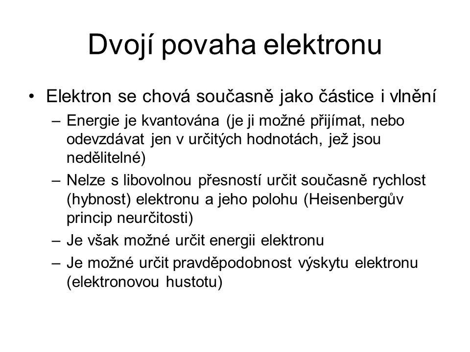 Dvojí povaha elektronu Elektron se chová současně jako částice i vlnění –Energie je kvantována (je ji možné přijímat, nebo odevzdávat jen v určitých h