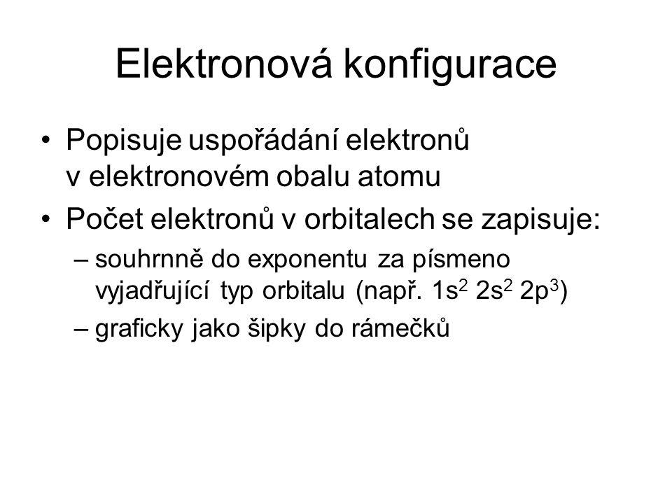 Elektronová konfigurace Popisuje uspořádání elektronů v elektronovém obalu atomu Počet elektronů v orbitalech se zapisuje: –souhrnně do exponentu za p