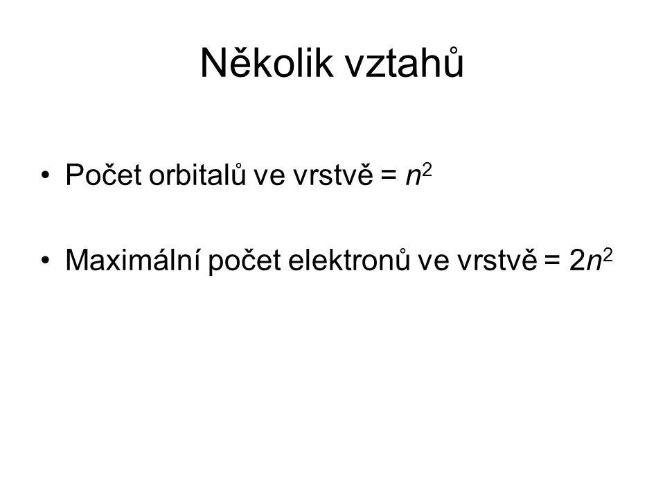 Několik vztahů Počet orbitalů ve vrstvě = n 2 Maximální počet elektronů ve vrstvě = 2n 2