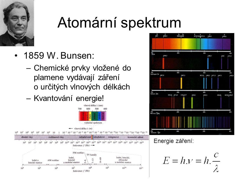 Atomární spektrum 1859 W. Bunsen: –Chemické prvky vložené do plamene vydávají záření o určitých vlnových délkách –Kvantování energie! Energie záření: