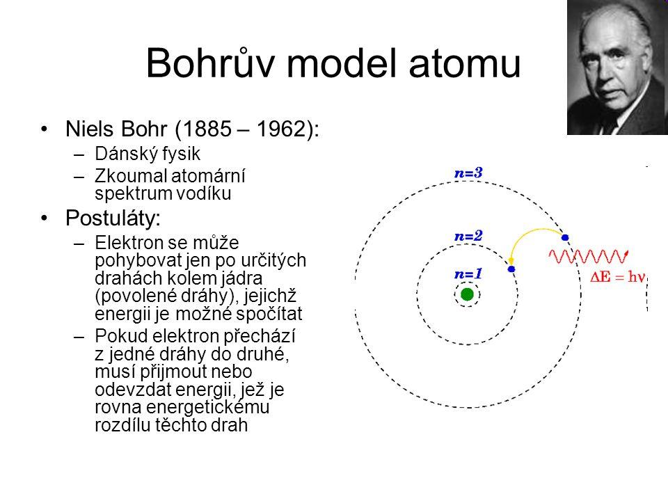 Bohrův model atomu Niels Bohr (1885 – 1962): –Dánský fysik –Zkoumal atomární spektrum vodíku Postuláty: –Elektron se může pohybovat jen po určitých dr