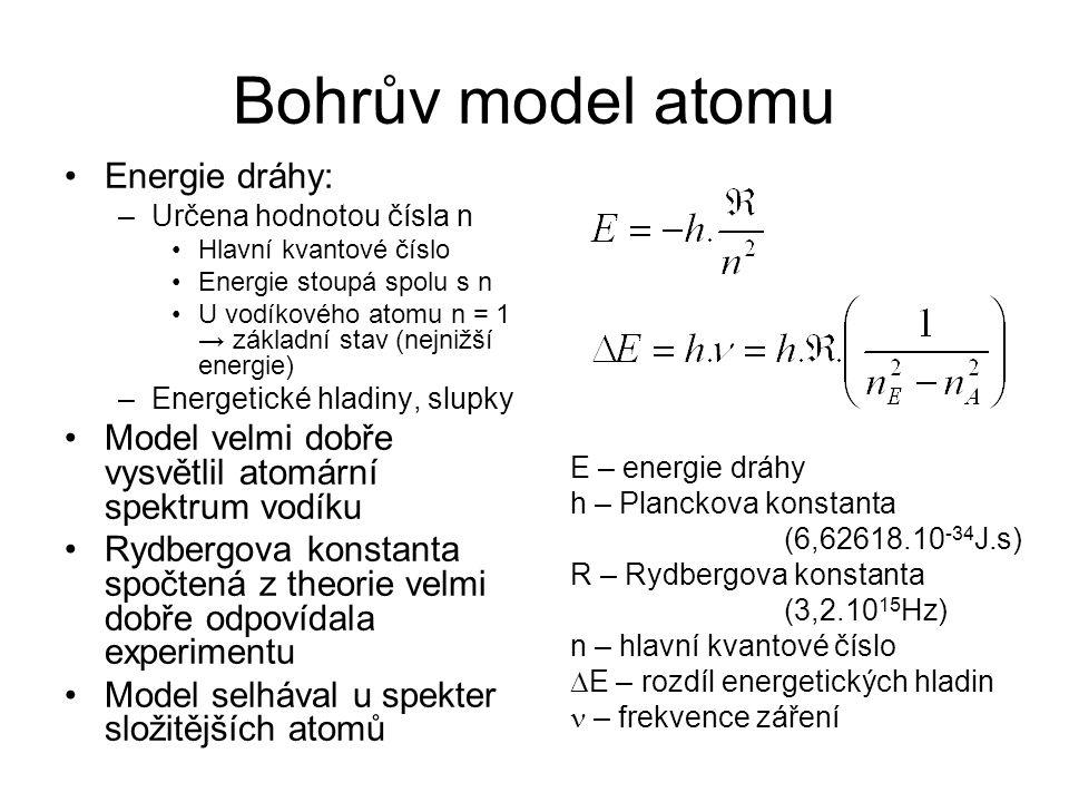 Bohrův model atomu Energie dráhy: –Určena hodnotou čísla n Hlavní kvantové číslo Energie stoupá spolu s n U vodíkového atomu n = 1 → základní stav (ne