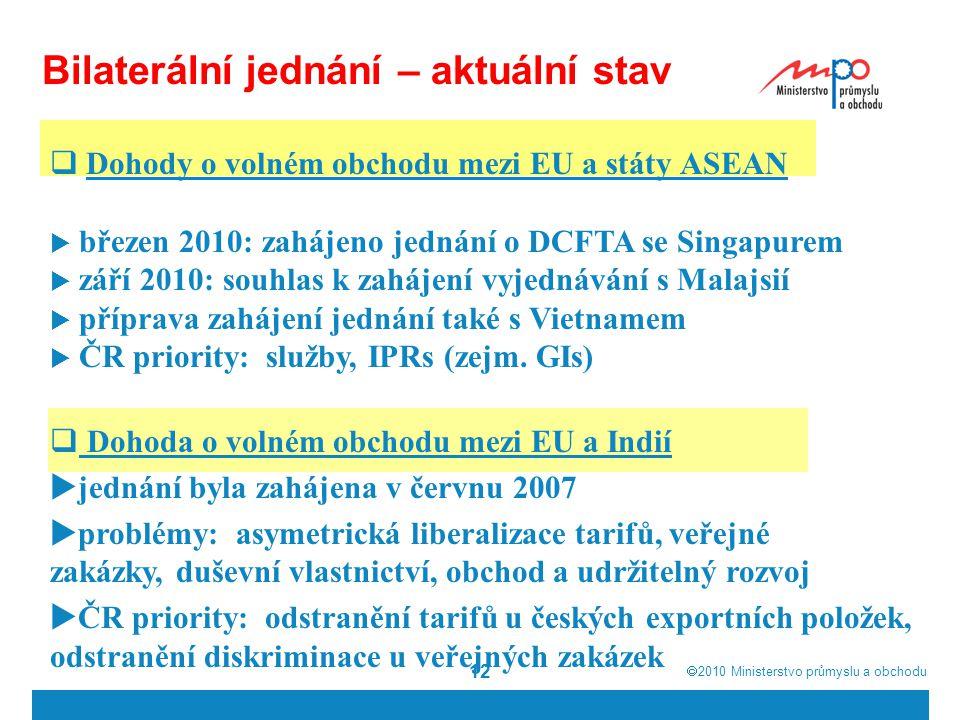  2010  Ministerstvo průmyslu a obchodu 12 Bilaterální jednání – aktuální stav  Dohody o volném obchodu mezi EU a státy ASEAN  březen 2010: zahájeno jednání o DCFTA se Singapurem  září 2010: souhlas k zahájení vyjednávání s Malajsií  příprava zahájení jednání také s Vietnamem  ČR priority: služby, IPRs (zejm.