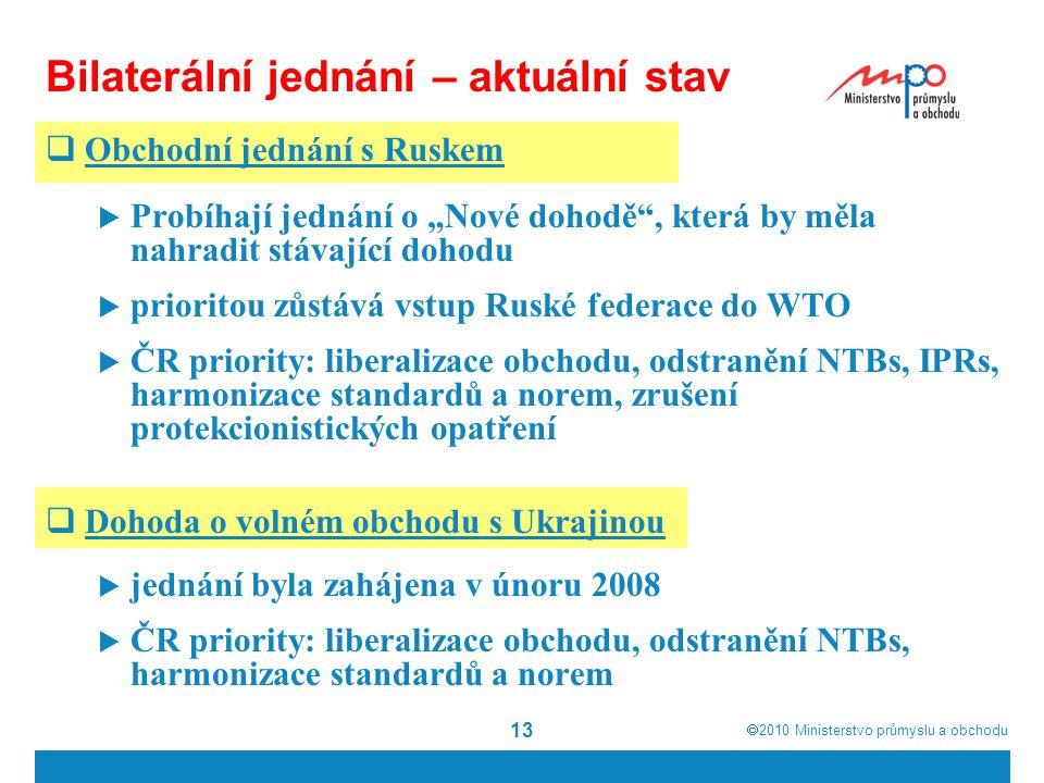""" 2010  Ministerstvo průmyslu a obchodu 13 Bilaterální jednání – aktuální stav  Obchodní jednání s Ruskem  Probíhají jednání o """"Nové dohodě , která by měla nahradit stávající dohodu  prioritou zůstává vstup Ruské federace do WTO  ČR priority: liberalizace obchodu, odstranění NTBs, IPRs, harmonizace standardů a norem, zrušení protekcionistických opatření  Dohoda o volném obchodu s Ukrajinou  jednání byla zahájena v únoru 2008  ČR priority: liberalizace obchodu, odstranění NTBs, harmonizace standardů a norem"""