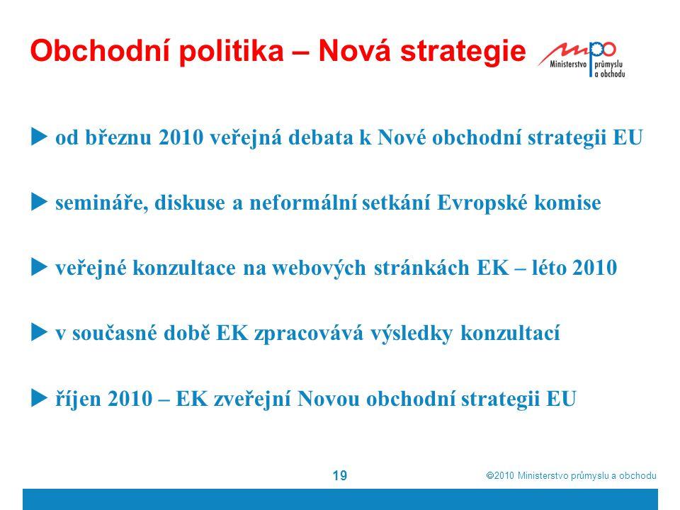  2010  Ministerstvo průmyslu a obchodu 19 Obchodní politika – Nová strategie  od březnu 2010 veřejná debata k Nové obchodní strategii EU  semináře, diskuse a neformální setkání Evropské komise  veřejné konzultace na webových stránkách EK – léto 2010  v současné době EK zpracovává výsledky konzultací  říjen 2010 – EK zveřejní Novou obchodní strategii EU