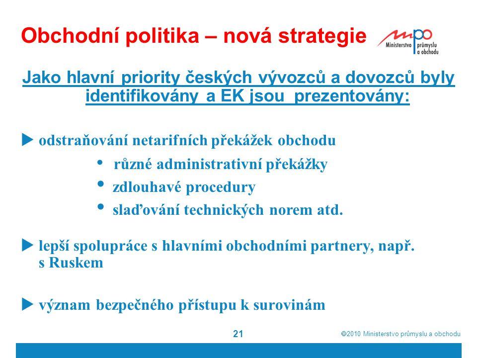  2010  Ministerstvo průmyslu a obchodu 21 Obchodní politika – nová strategie Jako hlavní priority českých vývozců a dovozců byly identifikovány a EK jsou prezentovány:  odstraňování netarifních překážek obchodu  lepší spolupráce s hlavními obchodními partnery, např.
