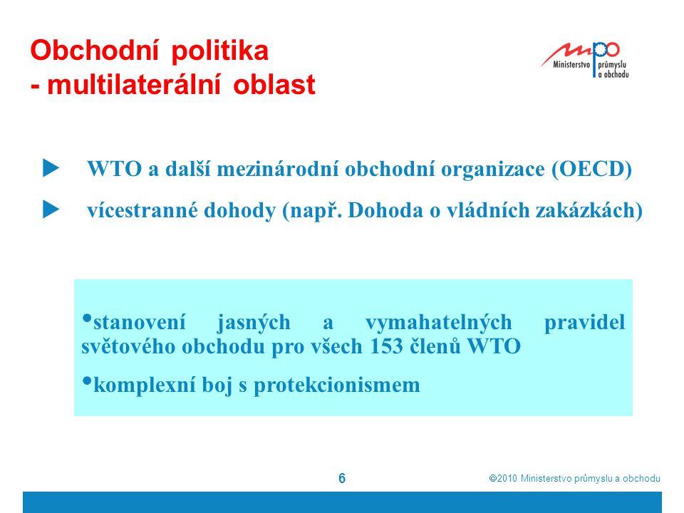 6 Obchodní politika - multilaterální oblast  WTO a další mezinárodní obchodní organizace (OECD)  vícestranné dohody (např.
