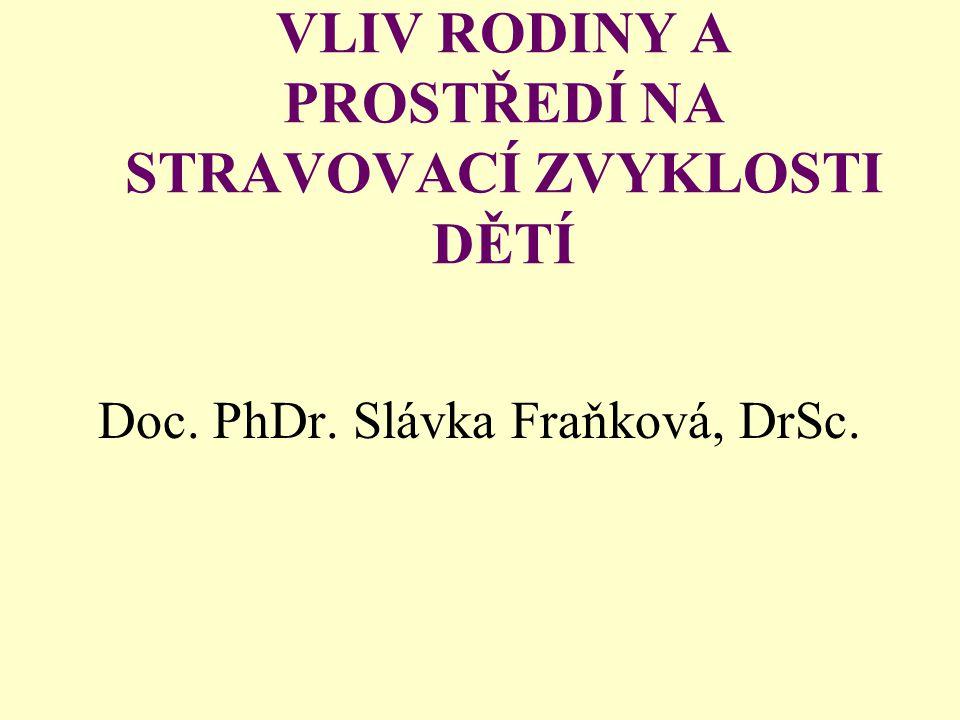 VLIV RODINY A PROSTŘEDÍ NA STRAVOVACÍ ZVYKLOSTI DĚTÍ Doc. PhDr. Slávka Fraňková, DrSc.
