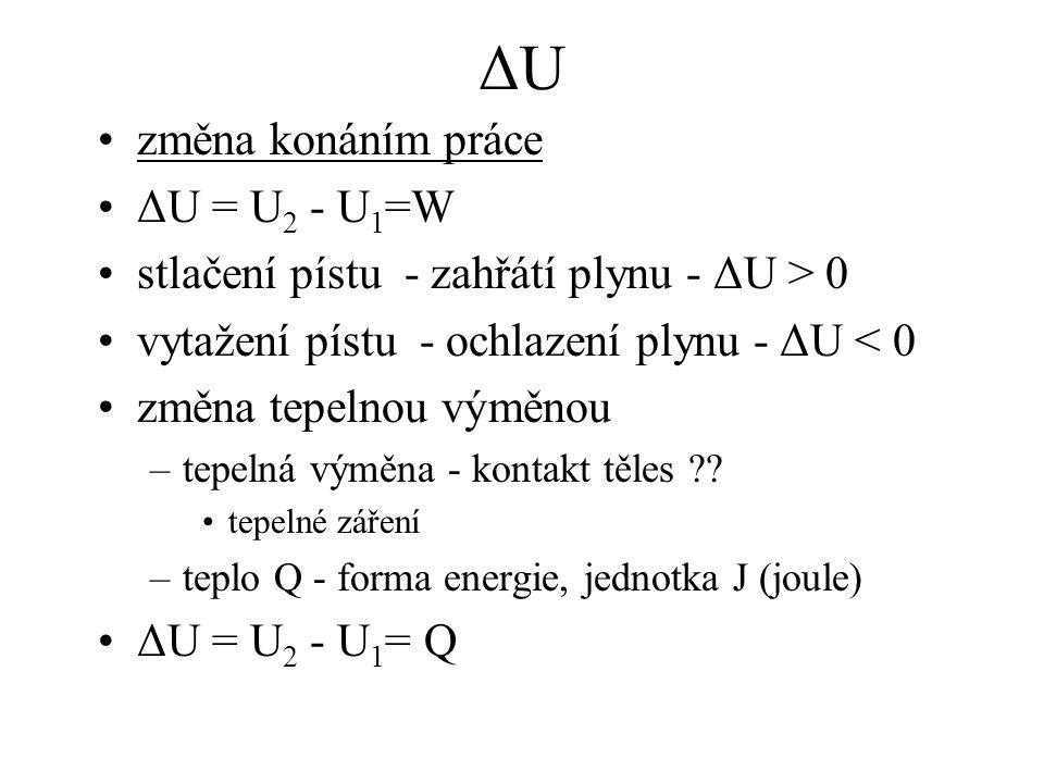 ΔUΔU změna konáním práce ΔU = U 2 - U 1 =W stlačení pístu - zahřátí plynu - ΔU > 0 vytažení pístu - ochlazení plynu - ΔU < 0 změna tepelnou výměnou –t