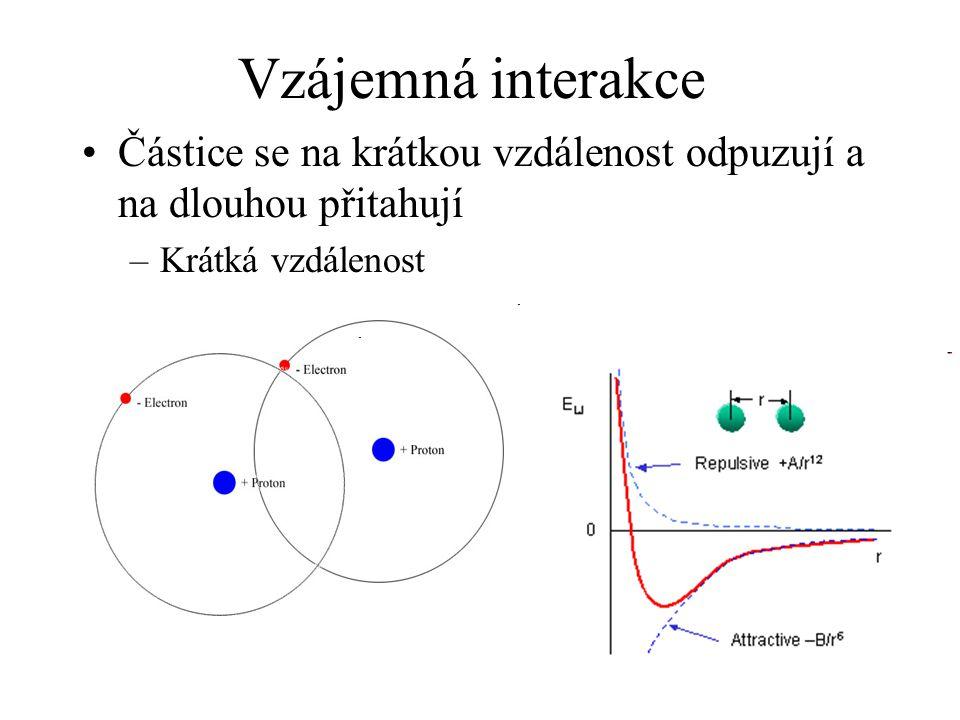 Vzájemná interakce Částice se na krátkou vzdálenost odpuzují a na dlouhou přitahují –Krátká vzdálenost