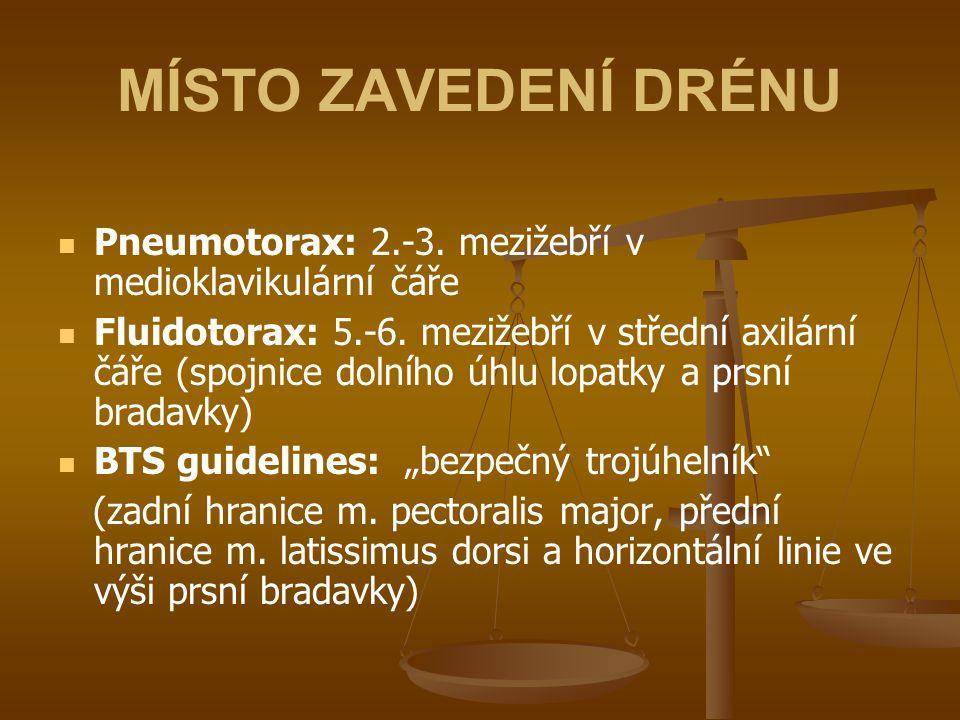 MÍSTO ZAVEDENÍ DRÉNU Pneumotorax: 2.-3. mezižebří v medioklavikulární čáře Fluidotorax: 5.-6. mezižebří v střední axilární čáře (spojnice dolního úhlu