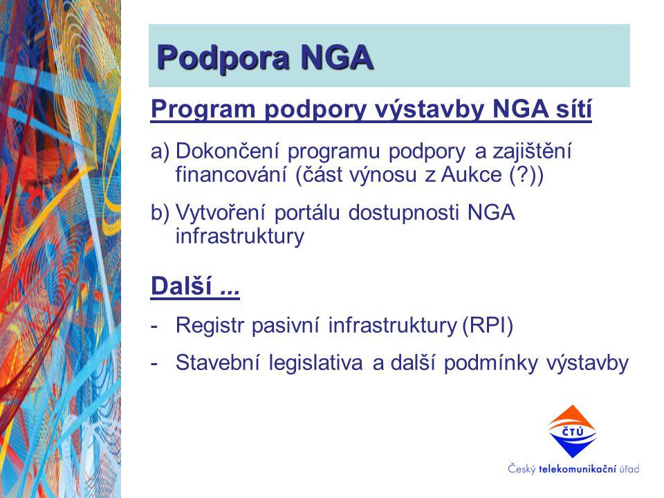 Podpora NGA Program podpory výstavby NGA sítí a)Dokončení programu podpory a zajištění financování (část výnosu z Aukce (?)) b)Vytvoření portálu dostu