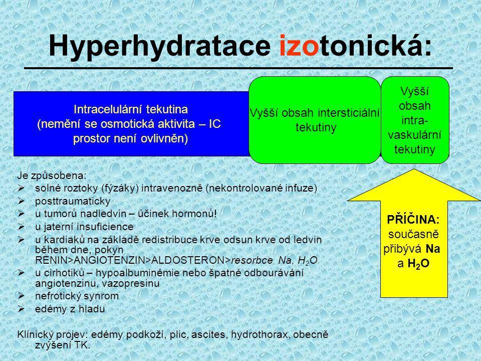 Hyperhydratace izotonická: Intersticium normální stav Intra- vaskulárně normální stav Je způsobena:  solné roztoky (fýzáky) intravenozně (nekontrolované infuze)  posttraumaticky  u tumorů nadledvin – účinek hormonů.