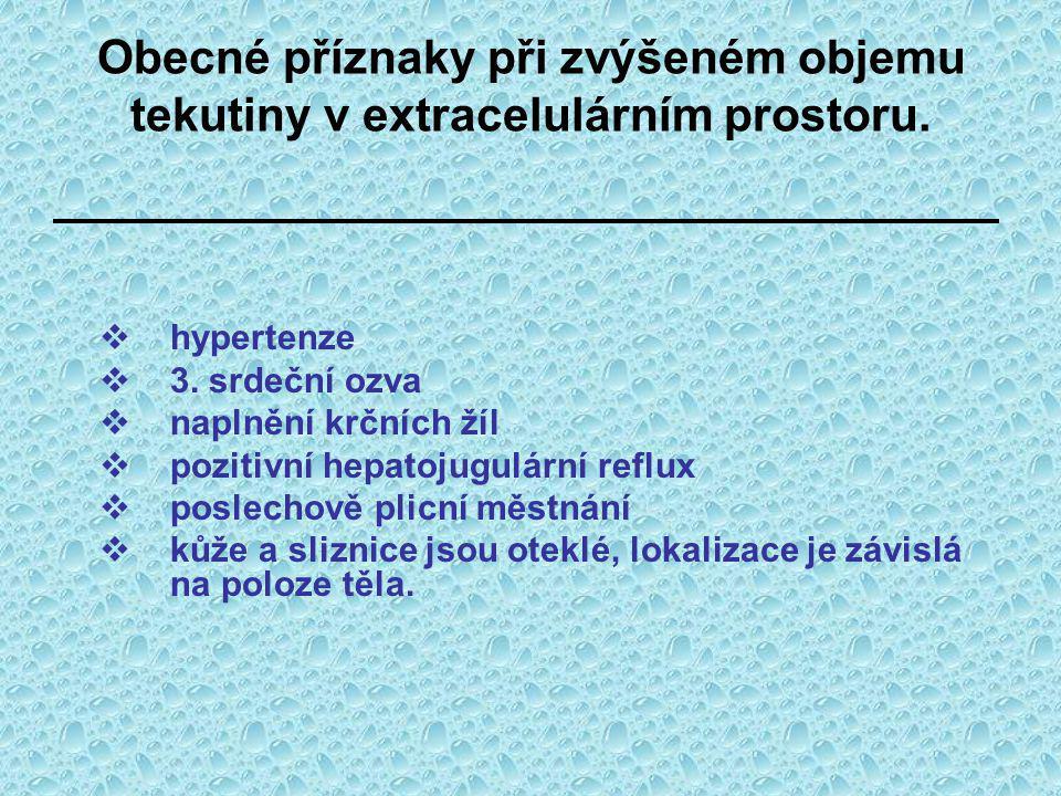 Obecné příznaky při zvýšeném objemu tekutiny v extracelulárním prostoru.