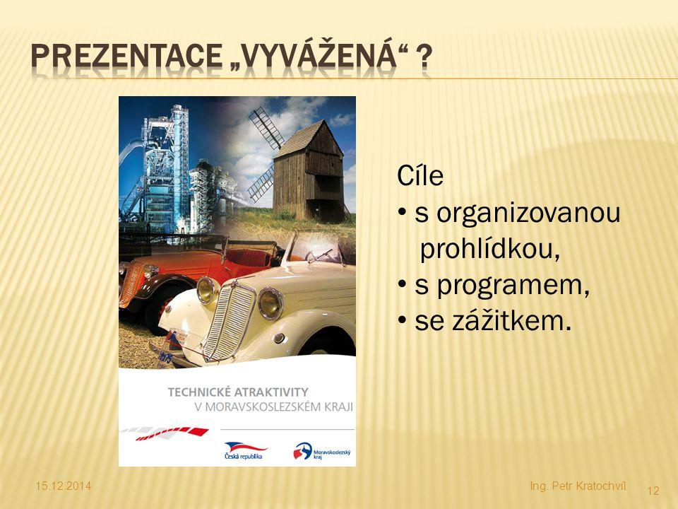 15.12.2014Ing. Petr Kratochvíl 12 Cíle s organizovanou prohlídkou, s programem, se zážitkem.