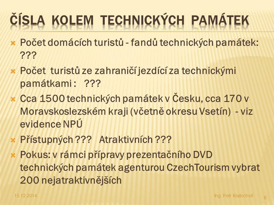  Počet domácích turistů - fandů technických památek: ???  Počet turistů ze zahraničí jezdící za technickými památkami : ???  Cca 1500 technických p