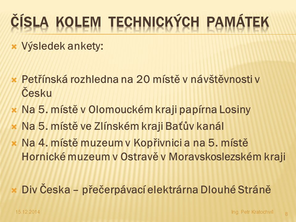  Výsledek ankety:  Petřínská rozhledna na 20 místě v návštěvnosti v Česku  Na 5. místě v Olomouckém kraji papírna Losiny  Na 5. místě ve Zlínském