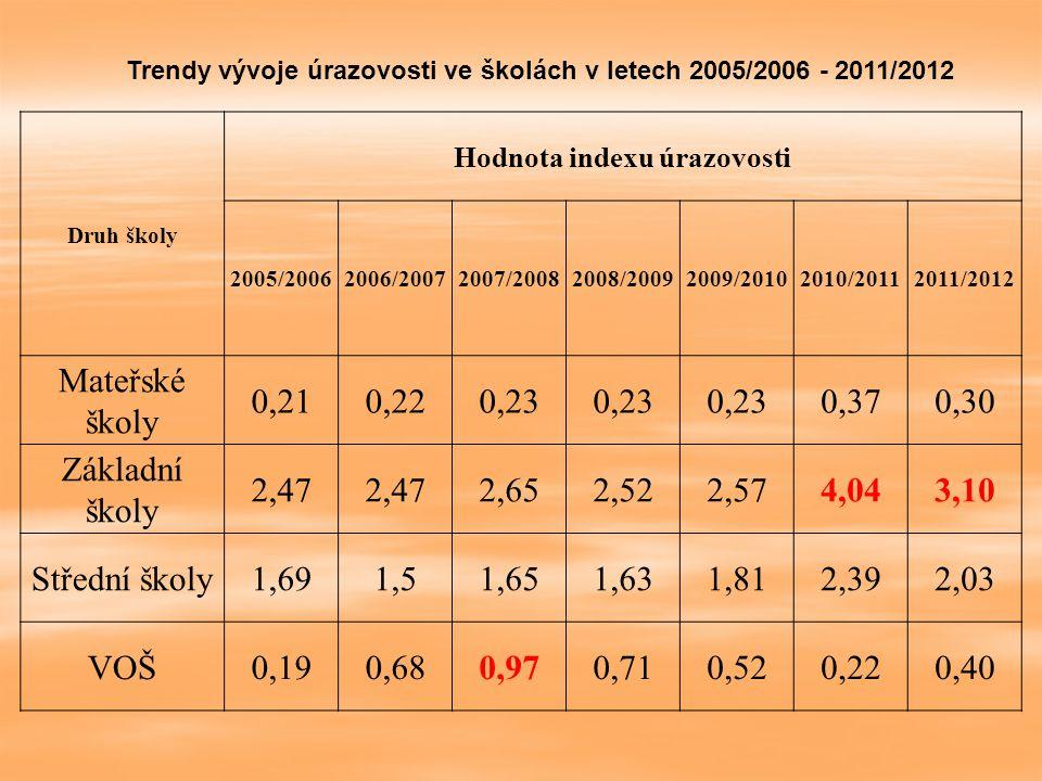 Druh školy Hodnota indexu úrazovosti 2005/20062006/20072007/20082008/20092009/20102010/20112011/2012 Mateřské školy 0,210,220,23 0,370,30 Základní ško