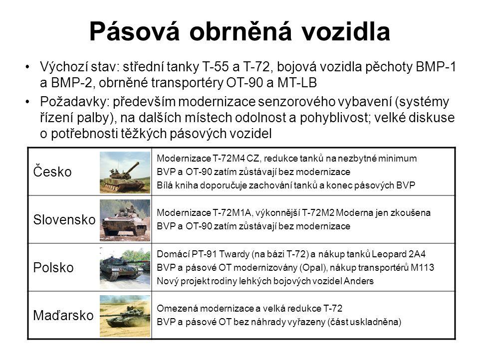 Kolová obrněná vozidla Česko Kontroverzní nákup a licenční produkce transportérů Steyr Pandur II Kontroverzní nákup automobilů IVECO LMV a KMW Dingo 2 BRDM-2 zůstávají jen ve specializované verzi pro NBC průzkum Slovensko Kolové transportéry zcela vyřazeny, automobily BRDM-2 zůstávají Domácí vozidla Tatrapan a Aligator (úspěšnost diskutabilní) Nákup obrněných automobilů IVECO LMV a BAE RG-32M Polsko Kolové transportéry Rosomak (licenční verze typu Patria AMV) Modernizace: OT-64 SKOT na verzi Rys, BRDM-2 na Szakal a Zbik Nákup nebo zapůjčení obrněných automobilů Cougar H a MaxxPro Maďarsko Nákup obrněných transportérů BTR-80 (probíhá modernizace) Obrněné automobily BRDM-2 a PSZH-IV už jen ve skladech Nákup nebo zapůjčení obrněných automobilů Cougar H a MaxxPro Výchozí stav: obrněné transportéry BTR-60, BTR-70 a OT-64 SKOT, obrněné automobily BRDM-2 (včetně specializovaných verzí) Požadavky: moderní kolové transportéry s palebnou silou fakticky na úrovni BVP a s možností dopravy vzduchem, obrněné automobily pro nasazení v zahraničních operacích (MRAP)