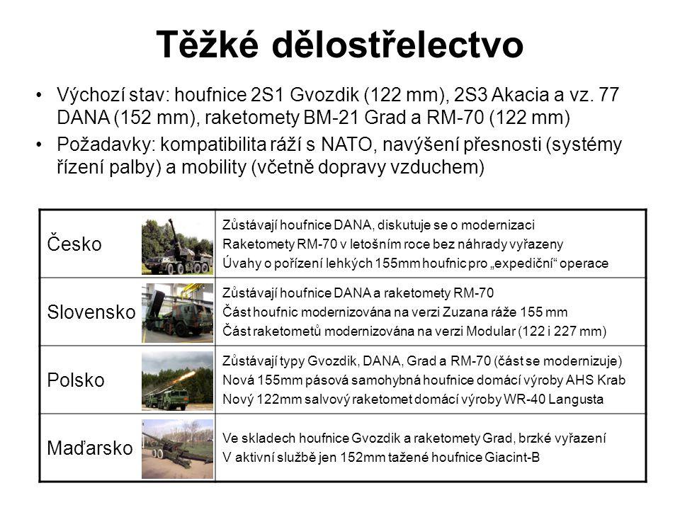 Těžké dělostřelectvo Česko Zůstávají houfnice DANA, diskutuje se o modernizaci Raketomety RM-70 v letošním roce bez náhrady vyřazeny Úvahy o pořízení
