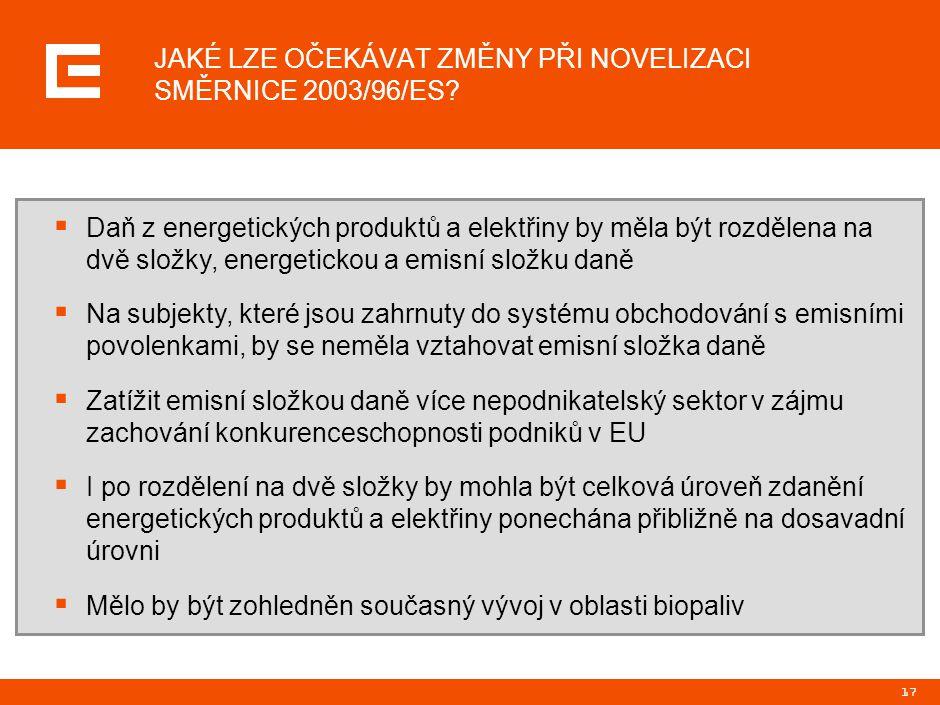 17 JAKÉ LZE OČEKÁVAT ZMĚNY PŘI NOVELIZACI SMĚRNICE 2003/96/ES?  Daň z energetických produktů a elektřiny by měla být rozdělena na dvě složky, energet