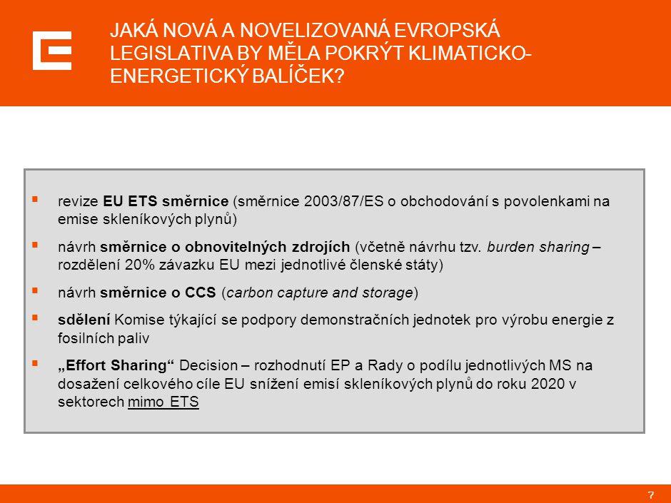 7 JAKÁ NOVÁ A NOVELIZOVANÁ EVROPSKÁ LEGISLATIVA BY MĚLA POKRÝT KLIMATICKO- ENERGETICKÝ BALÍČEK?  revize EU ETS směrnice (směrnice 2003/87/ES o obchod