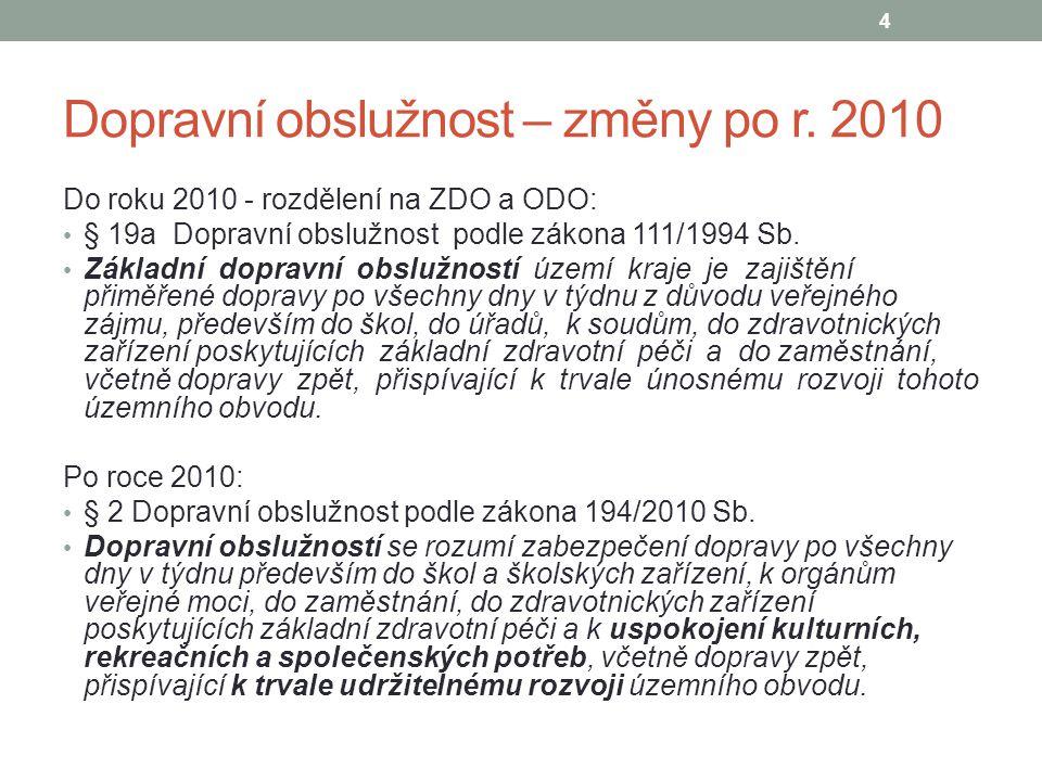 Dopravní obslužnost – změny po r. 2010 Do roku 2010 - rozdělení na ZDO a ODO: § 19a Dopravní obslužnost podle zákona 111/1994 Sb. Základní dopravní ob