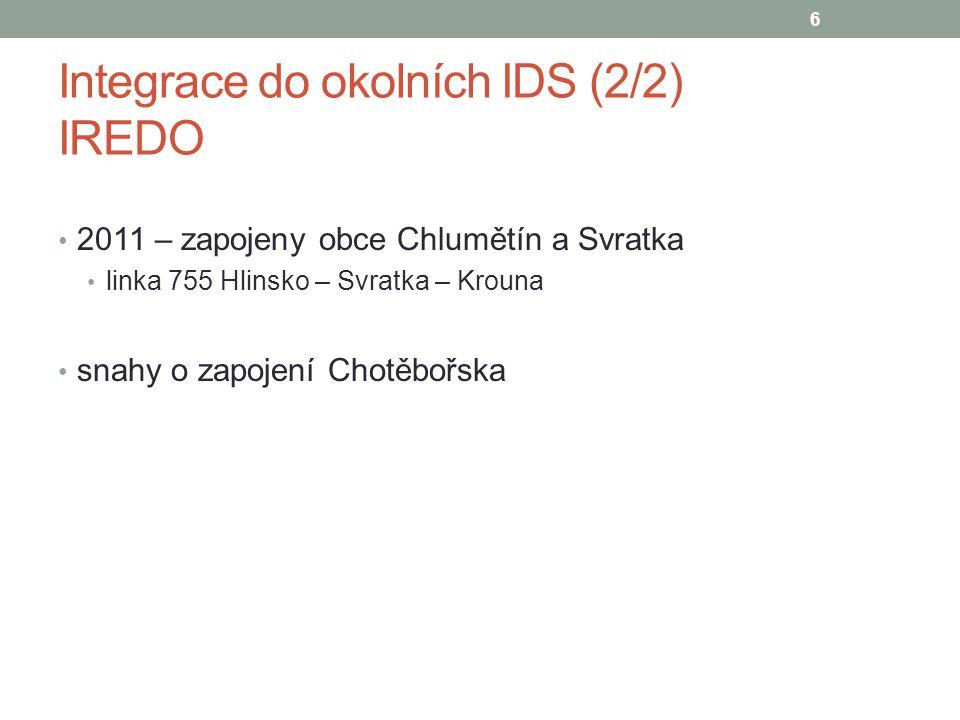 Integrace do okolních IDS (2/2) IREDO 2011 – zapojeny obce Chlumětín a Svratka linka 755 Hlinsko – Svratka – Krouna snahy o zapojení Chotěbořska 6