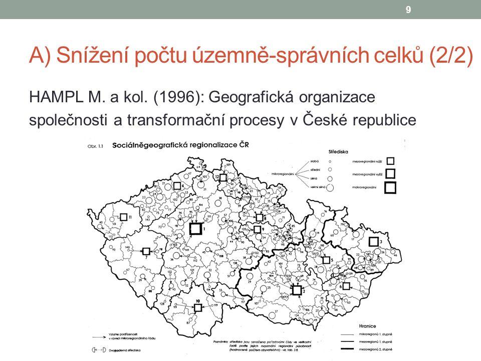 A) Snížení počtu územně-správních celků (2/2) HAMPL M. a kol. (1996): Geografická organizace společnosti a transformační procesy v České republice 9