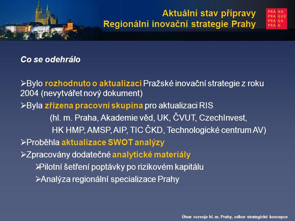 Útvar rozvoje hl. m. Prahy, odbor strategické koncepce Co se odehrálo  Bylo rozhodnuto o aktualizaci Pražské inovační strategie z roku 2004 (nevytvář